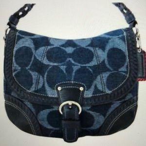 Coach Poppy denim blue signature purse